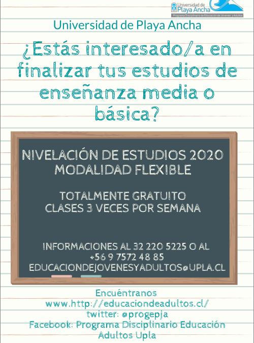 Nivelación de estudios 2020 UPLA